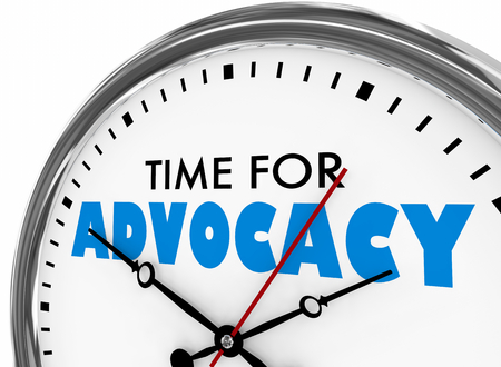 Time for Advocacy Support Defense Clock 3d Illustration Stock Photo