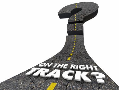 On the Right Track Direction Question Mark Road 3d Illustration Reklamní fotografie