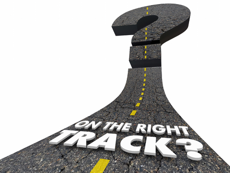 On the Right Track Direction Question Mark Road 3d Illustration Stock Photo