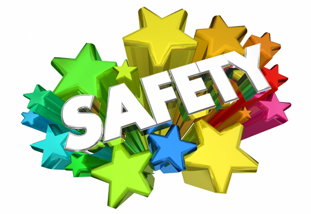 Safety Stars Security Caution Rules 3d animation