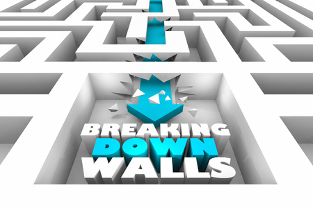 Breaking Down Walls Arrow Through Maze Barriers 3d Illustration
