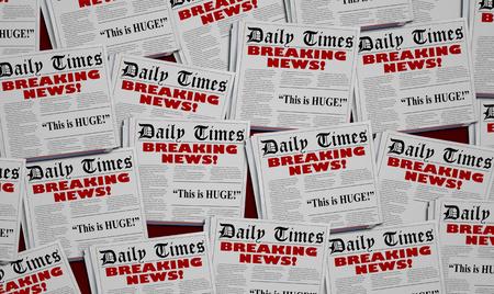Breaking News Story Live Big Report Newspaper Headlines 3d Illustration 版權商用圖片