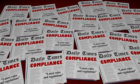 Compliance Obey Rules Regulations Newspaper Headlines 3d Illustration