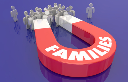 Families Related People Attracted Magnet 3d Illustration