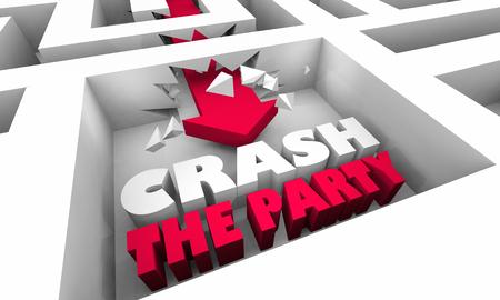 Crash the Party Arrow Maze Words 3d Illustration