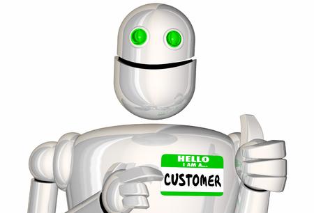 Customer Robot Android Digital Sale Nametag 3d Illustration