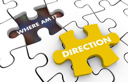 Direction Where Am I Puzzle Pieces 3d Illustration Stok Fotoğraf - 110555611