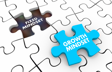 Fixed Vs Growth Mindset Puzzle Pieces 3d Illustration Фото со стока