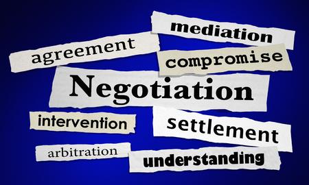 Negotiation Compromise Agreement Newspaper Headlines 3d Illustration