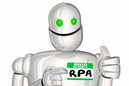 RPA Robotic Process Automation Android Nametag Illustrazione 3d Archivio Fotografico