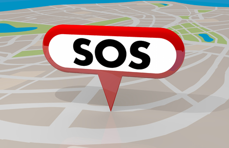 SOS Signal Save Us Resue Emergency Map Pin 3d Illustration Stock Photo