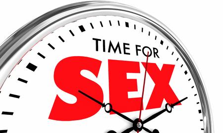 Time for Sex Romantic Passion Adult Pleasure Clock 3d Illustration
