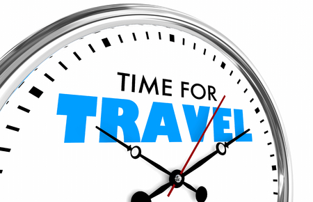 Time for Travel Tourism Holiday Vacation Clock 3d Illustration Banque d'images