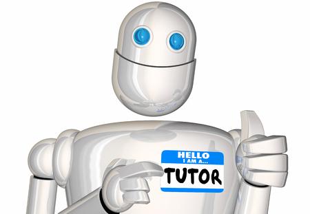 Tutor Teacher Educator Learn Robot Nametag 3d Illustration Reklamní fotografie