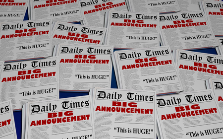 Big Announcement Surprise Headlines Newspaper Headlines 3d Illustration