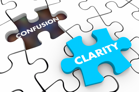 Clarity Vs Confusion Puzzle Pieces Words 3d Illustration Banque d'images