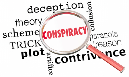 Conspiracy Theory Collusion Magnifying Glass 3d Illustration Stock Photo
