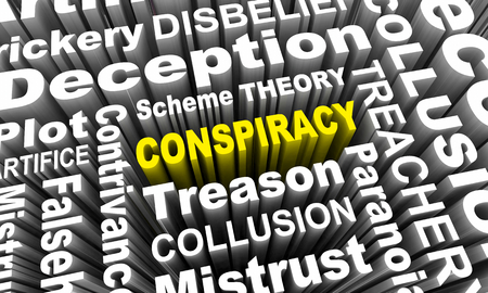Conspiracy Word Collage Deception 3d Illustration Stock Photo