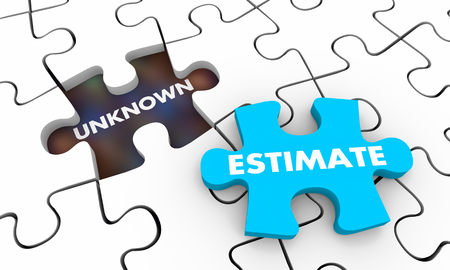 Estimate Vs Unknown Amount Puzzle 3d Illustration Stok Fotoğraf