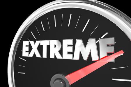 Extreme Highest Maximum Top Score Speedometer 3d Illustration