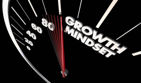 Growth Mindset Speedometer Achieve Success 3d Illustration Stok Fotoğraf