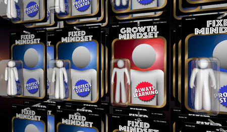 Growth Vs Fixed Mindset Learning People 3d Illustration 版權商用圖片