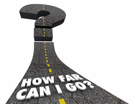 How Far Can I Go Question Mark Road 3d Illustration