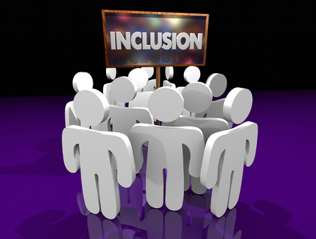 Inclusion People Around Sign Joining Group 3d Illustration Banco de Imagens