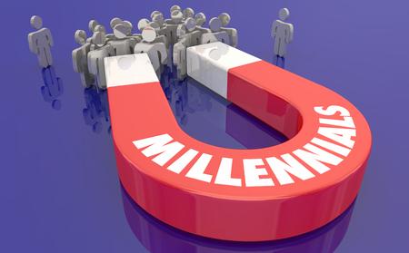 Millennials Generation Y Magnet People 3d Illustration
