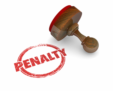 Penalty Fee Punishment Round Stamp Word 3d Illustration Stock fotó