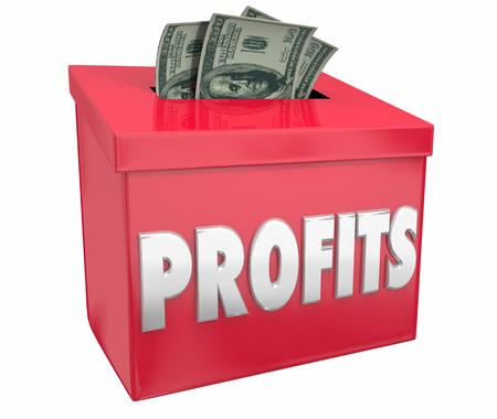 Profits Making Money Collection Box Income 3d Illustration