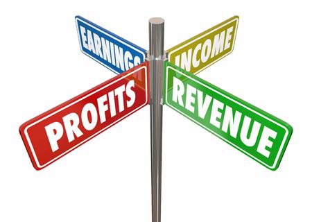 Profits Revenue Income Earnings 4 Way Sign 3d Illustration Reklamní fotografie
