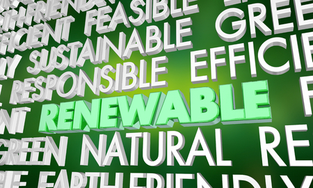 Renewable Sustainable Word Collage 3d Illustration