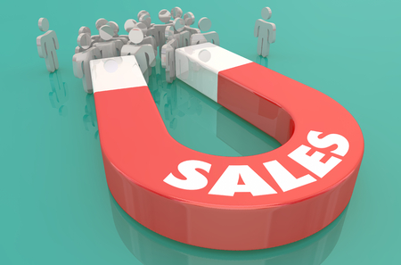 Sales Customers Attract New Prospects Magnet 3d Illustration