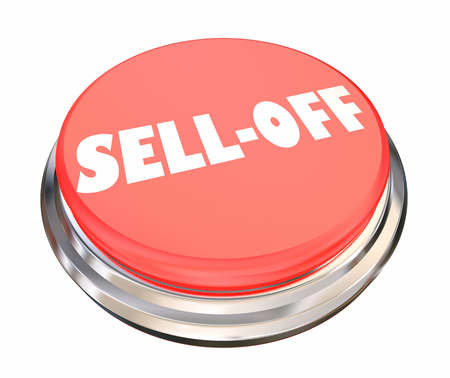 Sell-Off Stock Market Selling Shares Panic Button 3d Illustration