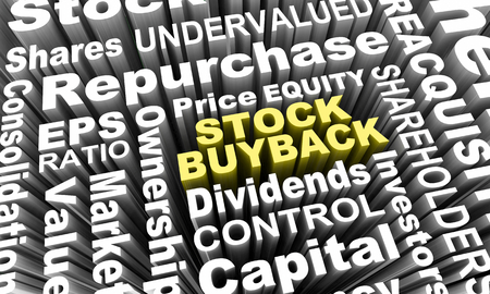 Stock Buyback Share Repurchase Word Collage 3d Illustration