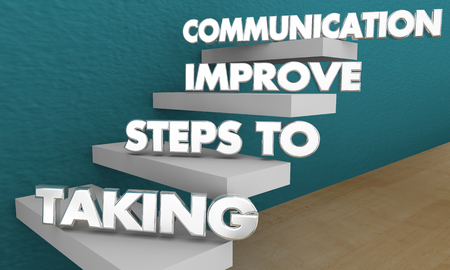 Taking Steps to Improve Communication Words 3d Illustration 写真素材