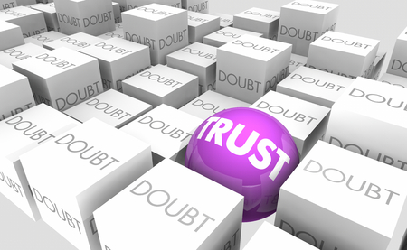 Trust Vs Doubt Belief Faith Words 3d Illustration