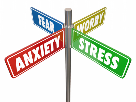 Anxiety Stress Fear Worry Signs Words 3d Illustration Stock Photo