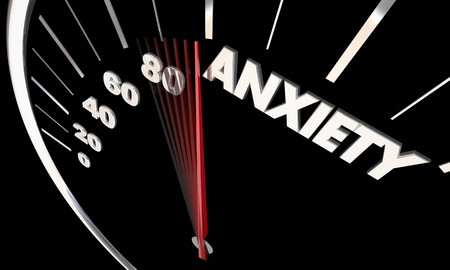 Anxiety Stress Level Rising Speedometer 3d Illustration Фото со стока
