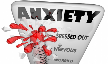 Anxiety Stress Thermometer Levels 3d Illustration Фото со стока