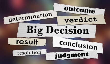 Big Decision Newspaper Headlines Articles 3d Illustration Banco de Imagens