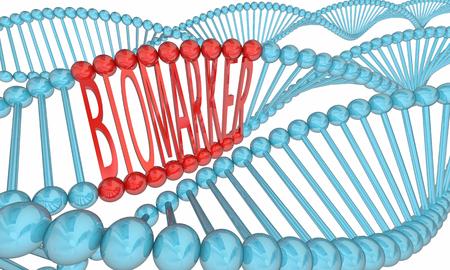 Illustrazione 3d di ricerca medica del filo del DNA del biomarcatore