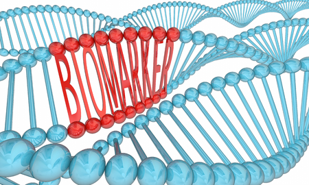 Ilustración 3d de investigación médica de cadena de ADN biomarcador