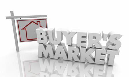 Buyers Market House Property Home For Sale Sign 3d Illustration