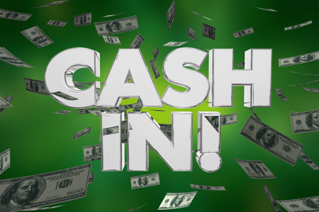 Cash In Money Falling Make Profits Dollars 3d Illustration