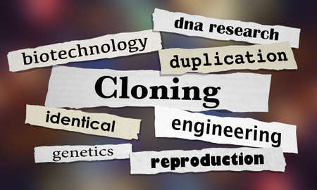 Cloning Biotechnology Clone Newspaper Headlines 3d Illustration Фото со стока