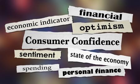 Consumer Confidence Economic Indicators Newspaper Headlines 3d Illustration Banco de Imagens