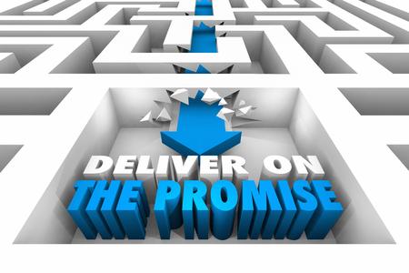 Deliver on the Promise Maze Arrow Achieve Success 3d Illustration Stock Photo