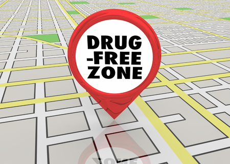 Drug Free Zone No Addiction Abuse Map Pin 3d Illustration